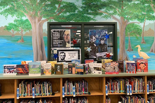 Media center book display feature presidents.