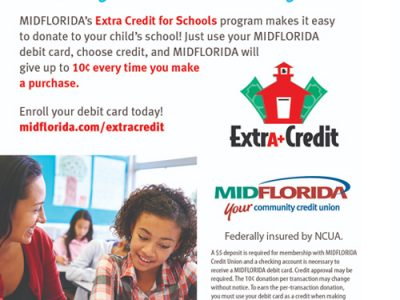 Extra Credit For Schools - MidFlorida Credit Union Flyer that talks about helping schools raise money